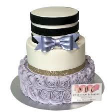 1866 3 Tier Purple And Black Wedding Cake
