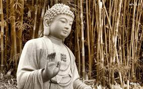 Lord Buddha Statue Black And White With Natural Background Wallpaper