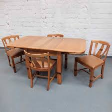 Art Deco Oak And Coromandel Extending Dining Table 4 Chairs