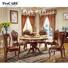 US $3099.0 |6 Seater Imported Wooden Round Marble Dining Table And Chairs  Set Design 6015-in Dining Room Sets From Furniture On AliExpress