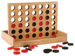 Classic Four In A Row Game Wooden Board By Hey Play Traditional