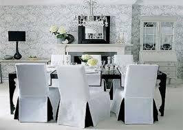 Black And White Dining Room Amazing Custom Luxury Subrtex Jacquard Stretch Chair Slipcovers