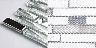 metal glass mosaic bath wall silver stainless steel backsplash