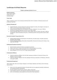 Sample Of Landscape Architect Resume