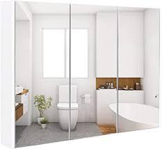 goplus spiegelschrank 3 türig badezimmerschrank aus holz hängeschrank badezimmer wandschrank mit spiegel badezimmerspiegelschrank weiß