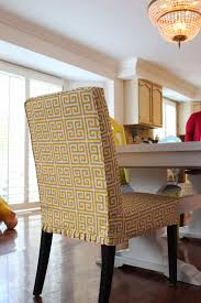 Skirted Parsons Chair Slipcovers by Custom Slipcovers By Shelley Greek Key Parson Chairs