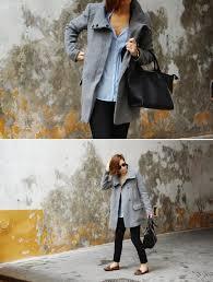 women u0027s grey coat light blue dress shirt black skinny pants