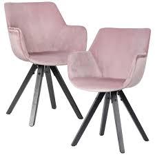 wohnling 2er set esszimmerstuhl samt rosa mit armlehnen küchenstühle modern mit schwarzen beinen bequemer schalenstuhl gepolstert