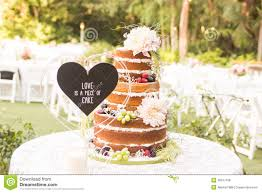 Naked Wedding Cake Stock Photo Image Of Covered