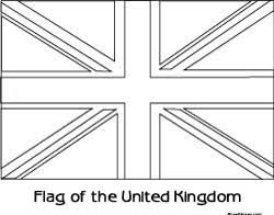 Flag Of United Kingdom UK Colouring Sheet