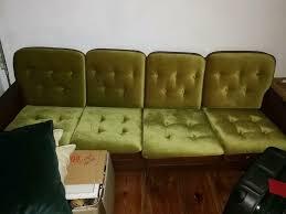 vintage sofa grüner samt top zustand