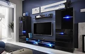 all4all wohnwand megan anbauwand wohnzimmer schrankwand möbelset 11 schwarz schwarz hochglanz