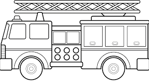 Fire Truck Black And White Clipart