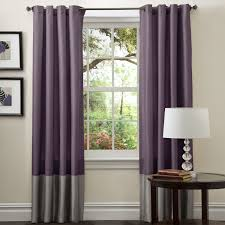 Fabric For Curtains Uk by Purple Fabric Curtains With Grey Bottom Part On Steel Rod Combined