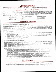 Bookkeeping Resume YAKX Bookkeeper Valid Example For Free