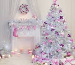 Christmas Tree Interior Xmas Fireplace Pink White Decorated Indoor