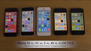 iPhone 5S vs 5C vs 5 vs 4S vs 4 iOS 7 0 2 Benchmark Speed