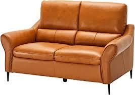 ibbe design cognac braun echtleder 2er sitzer sofa modern