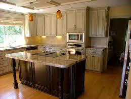 delectable u shape kitchen decoration using light brown glass