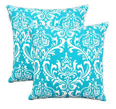 TreeWool Pack of 2 Cotton Canvas Damask Accent Decorative Throw