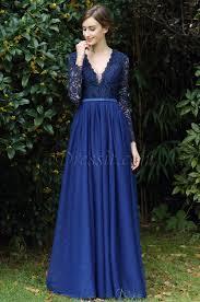 edressit long sleeves blue plunging v neck lace dress 00170905
