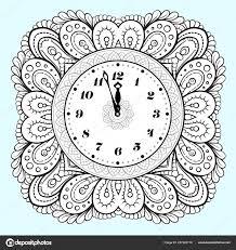Noir Blanc Nouveau Vecteur Horloge Coloriage Vacances Image