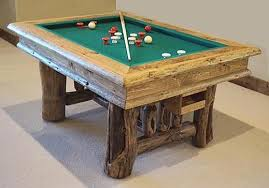 Rustic Bumper Pool Table With Slate Built From Naturally Distressed Logs