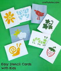 Easy Stencil Cards to make with Kids such a fun way to make