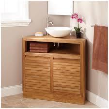 Teak Bathroom Corner Shelves by Minimalist Corner Vanity Cabinets For Small Bathroom