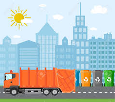 City Waste Recycling Concept With Garbage Truck. Concept Waste ...