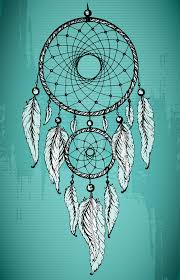 Download Hand Drawn Dream Catcher With Ornamental Feathers On Grunge Gree Stock Vector