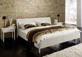 Furniture White Wicker Bed Frame With Headboard Using King Size Mattress And Linen