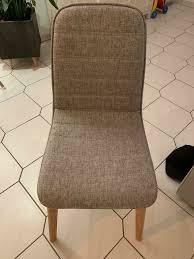 6 stühle esszimmer holz stoff grau meliert