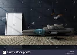 low dunkelbraun sofa gegen einen schwarzen fliesen wand in