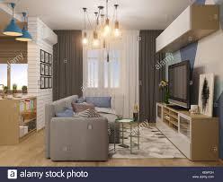 100 Interior Design Modern 3d Illustration Living Room And Kitchen Interior Design
