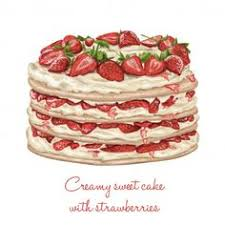 Realistic cake with strawberries Free Vector cake sweet food illustration snack