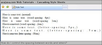 How do I control the spacing between words and letters Web