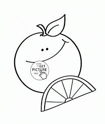 Happy Cartoon Orange Fruit Coloring Page For Kids Fruits Pages Printables Printable And Veg Pictures Plants
