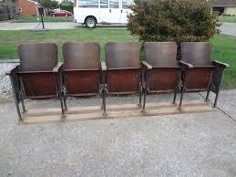 vintage movie theatre wood seat cast iron chair auditorium stadium