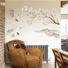 großhandel chinesische frühlingsblume wandaufkleber für schlafzimmer dekoration hintergrund flugzeug pastrol wandtür diy wallposters förderung