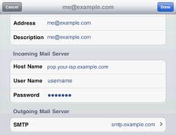 How to setup outbound SMTP on a iPad Support Area