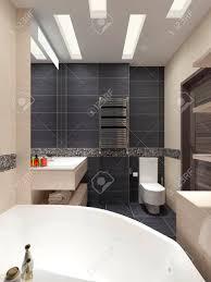 master bad in einem modernen stil mit schwarzen fliesen an den wänden und beige möbel 3d darstellung