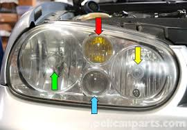 volkswagen golf gti mk iv headlight bulb and assembly replacement