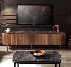 casa padrino luxus tv schrank braun schwarz kupferfarben 208 x 48 x h 57 cm fernsehschrank mit 4 türen und glasplatte in marmoroptik luxus