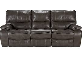 Cindy Crawford Home Gianna Gray Leather Reclining Sofa Leather