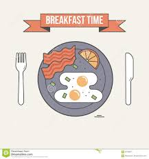 Breakfast Time Illustration Table Setting Plate With Fried Egg