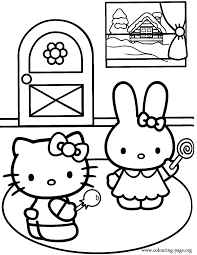 Hello Kitty And Cathy Coloring Page