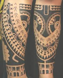 Calf Tattooed With Style Neo Marquesas Of Strips Polynesian Symbols