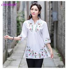 2017 Vintage 70s Women Ethnic Floral Embroidered Boho Hippie Mexican Peasant White Gypsy Blouse Chic Tops