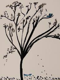 Bluebird Drawing Bluebird And Falling Leaves by Mary Carol Williams